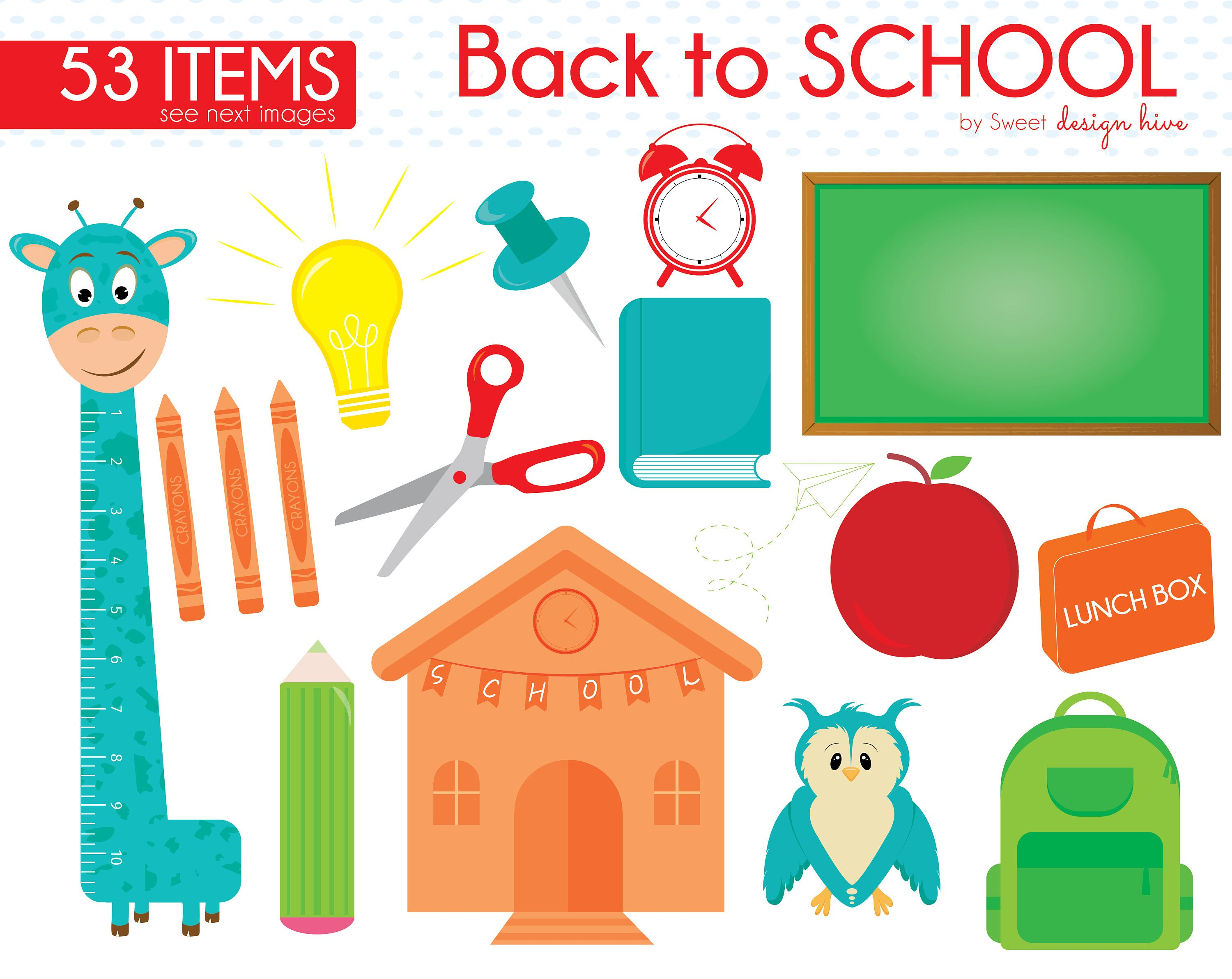 School supply chalkboard clipart image download Back to School Clipart, School Clipart, School Supplies ... image download