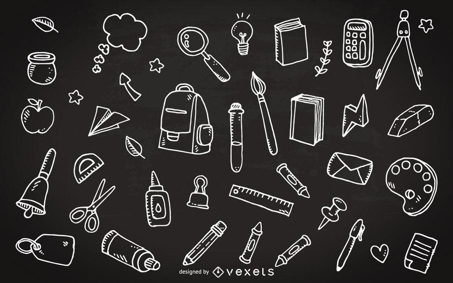 School supply chalkboard clipart image School supplies chalkboard doodles - Vector download image