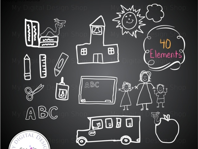 School supply chalkboard clipart jpg freeuse download Back To School - Hand Drawn by Children in Chalk Clipart ... jpg freeuse download