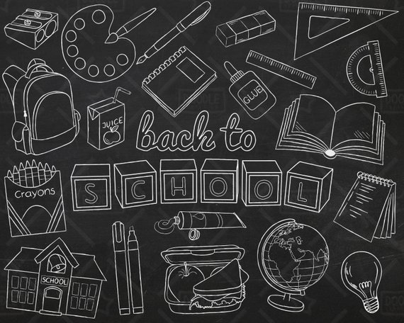 School supply chalkboard clipart clipart black and white Chalkboard Back To School Vector Pack, Hand Drawn School ... clipart black and white