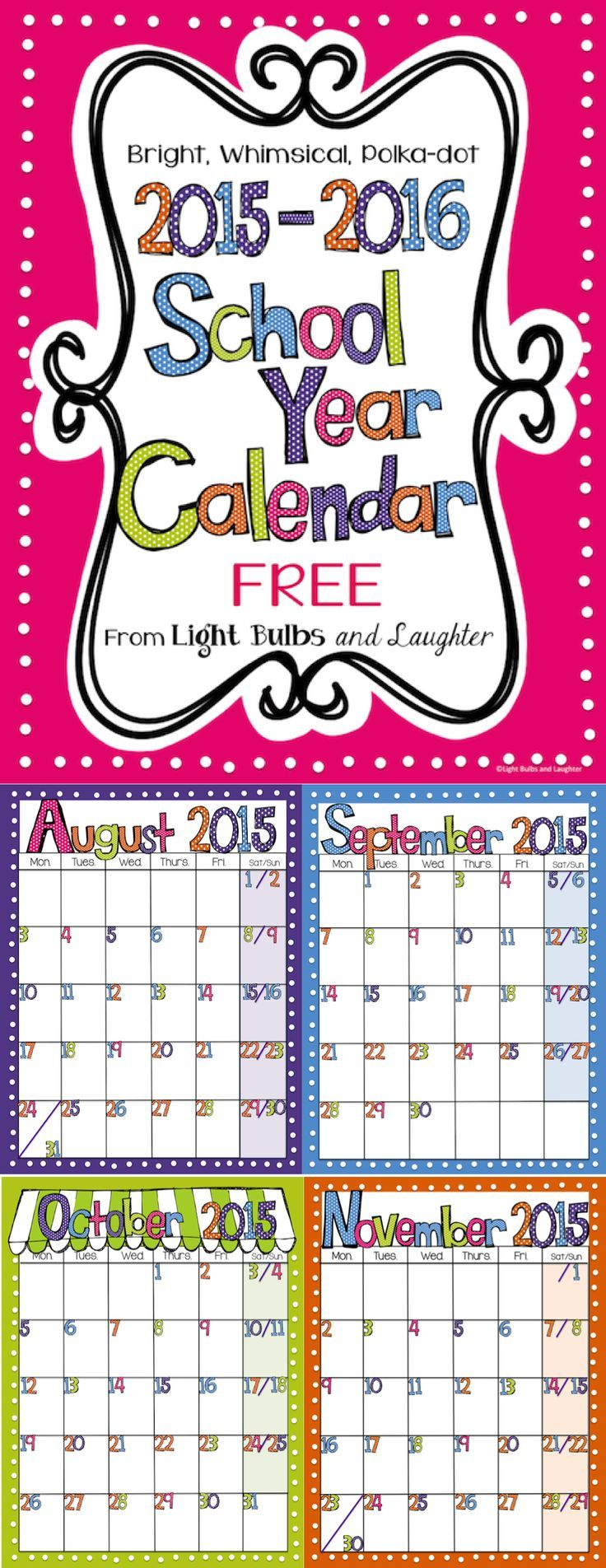 School year calendar clipart svg free download Editable FREE Bright Polka Dot Monthly Calendars 2019-2020 ... svg free download