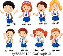 Schoolchildren clipart svg stock Pupils Clip Art - Royalty Free - GoGraph svg stock
