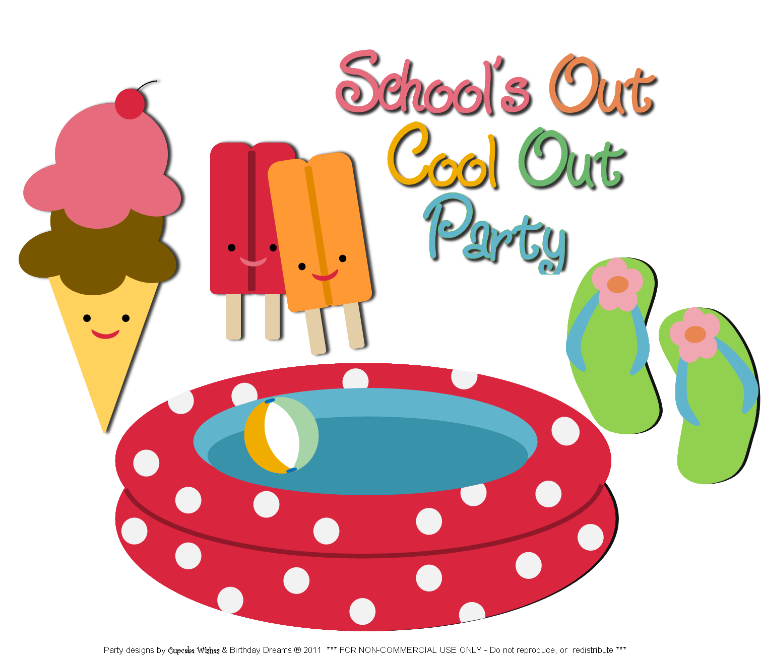Free clipart school out summer graphic freeuse Schools Out Party Clipart graphic freeuse