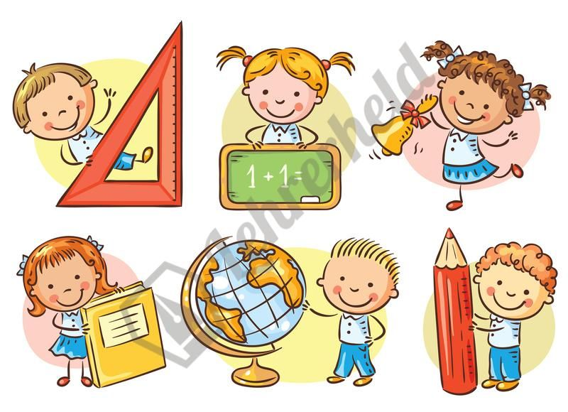 Schule clipart graphic freeuse library Schulkinder haltend Schulgegenstände | Bilder und Cliparts ... graphic freeuse library