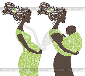 Schwangere frau clipart graphic free download Frauen-Silhouetten. Schwangere Frau und Mutter - Vektor-Clipart ... graphic free download