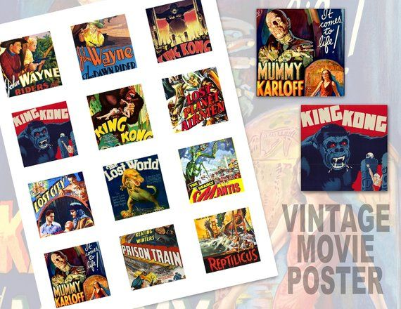 Sci fi movie clipart banner free stock Vintage Movie Poster Collage Sheet, 2x2 inch, 2\