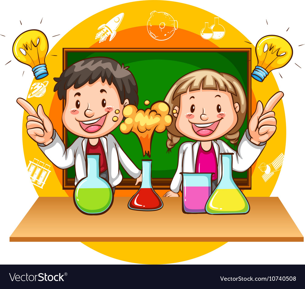 Science experiments free clipart banner freeuse Boy and girl doing science experiment banner freeuse