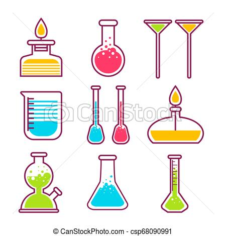 Science lab equipment clipart banner black and white download Chemical flasks chemistry science laboratory equipment isolated objects banner black and white download