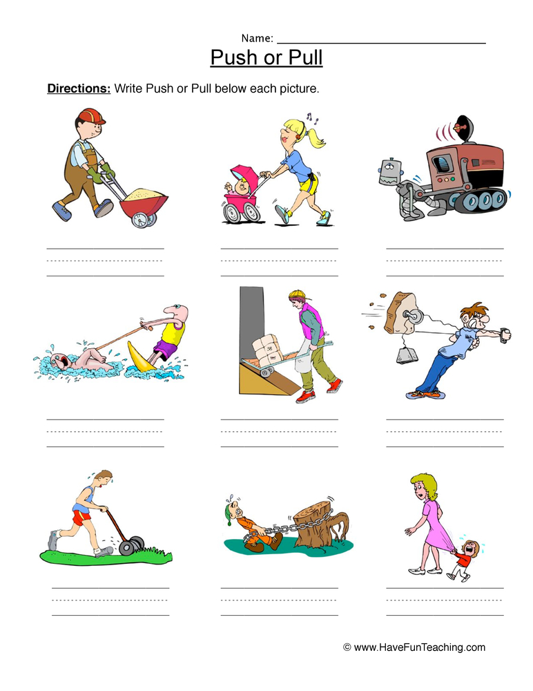Science push pull clipart banner free library Push or Pull Force Worksheet   Have Fun Teaching banner free library