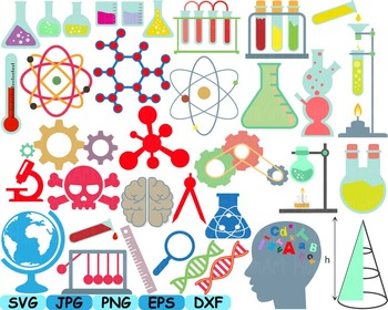 Math and science clipart banner library download Science School Clip art svg math atom book experiment lesson biology lab  -149s banner library download