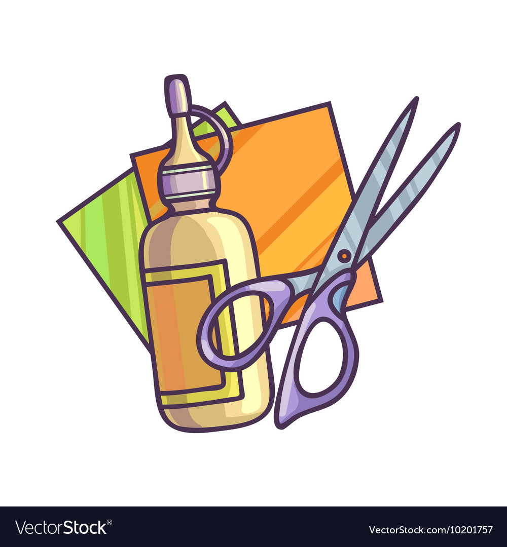 Scissors and glue clipart banner stock Glue paper and scissors banner stock