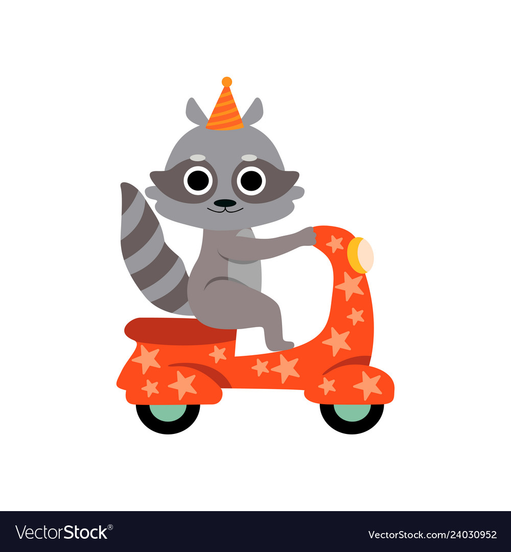 Scooter rider comedy clipart png black and white download Raccoon riding on motorbike cute funny animal png black and white download