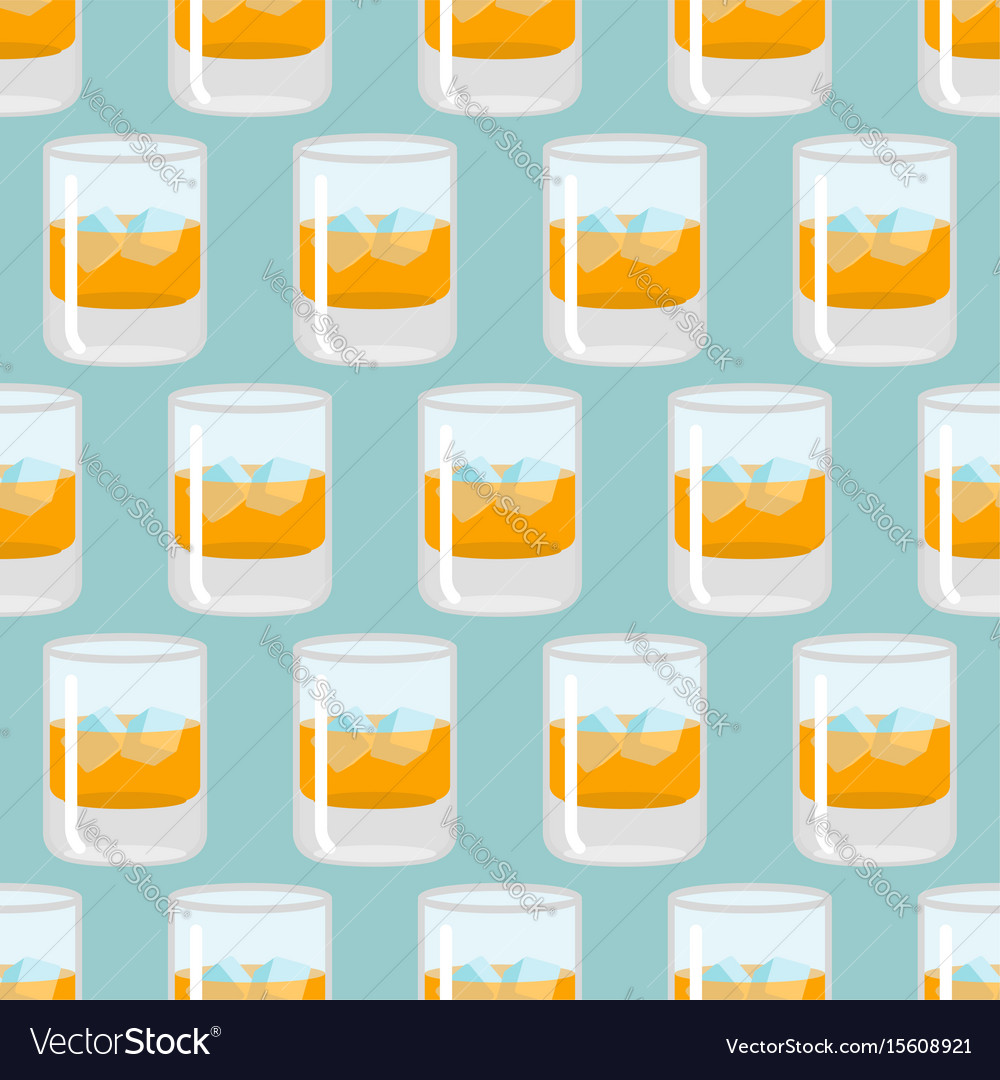 Scotch bottle clipart patterns vector royalty free library Glass of whiskey and ice seamless pattern scotch vector image vector royalty free library