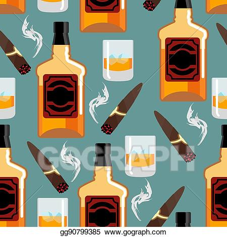 Scotch bottle clipart patterns graphic EPS Illustration - Whiskey with ice seamless pattern ... graphic