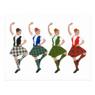 Scottish dancing clipart clipart black and white library Four Scottish Highland Dancers Postcard clipart black and white library