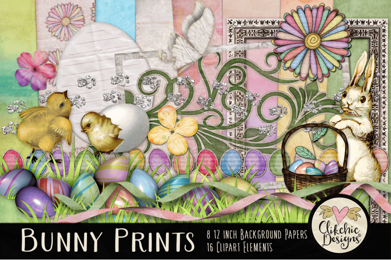 Scrap book spring clipart graphic freeuse stock Easter Digital Scrapbook Kit - Bunny Prints Spring Clipart ... graphic freeuse stock