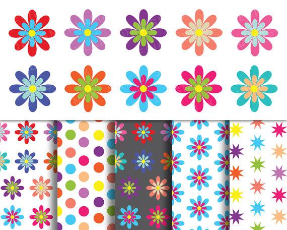 Scrapbook flower clipart clipart free download Digital Flower Clipart, Spring Flowers Clipart, Colorful ... clipart free download