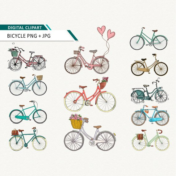 Scrapbook images bike clipart vector royalty free library Bicycle clipart bike and flowers digital clipart floral ... vector royalty free library