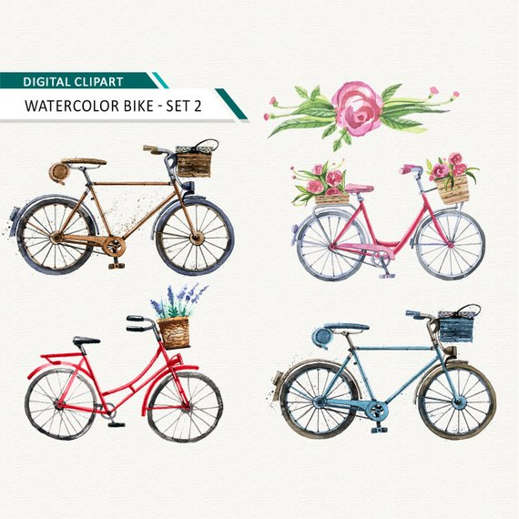 Scrapbook images bike clipart graphic royalty free stock Bicycle clipart Watercolor bike printable | Products in 2019 ... graphic royalty free stock
