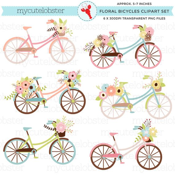 Scrapbook images bike clipart svg royalty free download Floral Bicycles Clipart Set - flowers, bikes, clip art ... svg royalty free download