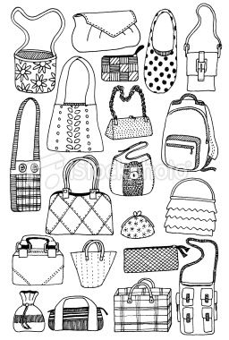 Scrapbooking card ladies hat and purse clipart clipart transparent Doodle sketches of twenty different styles of bag...   Paper ... clipart transparent