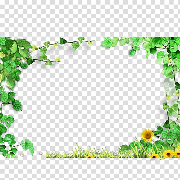 Scroll frames clipart border with watercolor ivy picture black and white Sunflower illustration, Template, Green leaves frame,Green ... picture black and white
