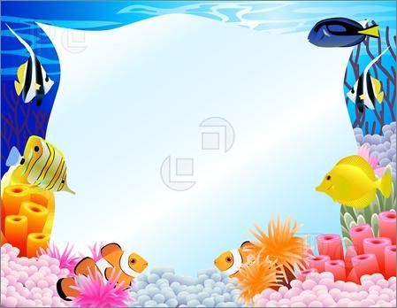 Sea background clipart free banner black and white Illustration Of Sea Life Background. Royalty Free Vector ... banner black and white