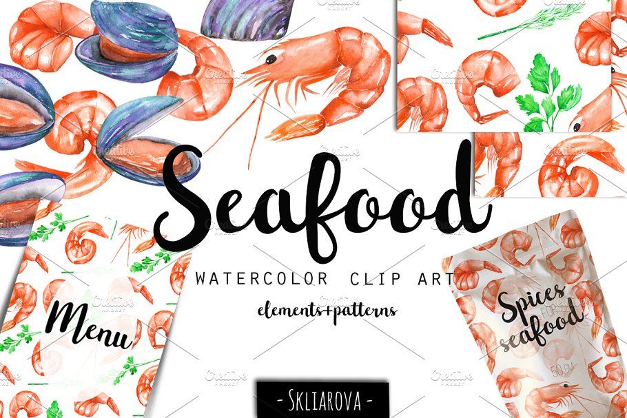 Sea food clipart clip freeuse download SeaFood. Watercolor clip art. ~ Illustrations ~ Creative Market clip freeuse download