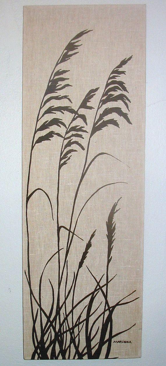 Sea oat clipart boarder black and white library Vintage Marushka Sea Grass Canvas Screenprint | Arte in 2019 ... black and white library