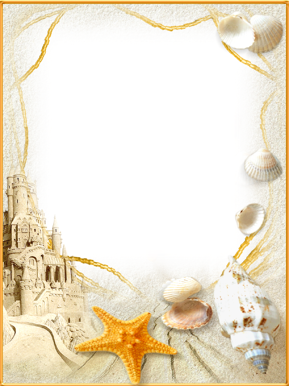 Sea shells star fishon beach clipart clip Photo-Frame-Sand-Castle.png (959×1280) I like the shells and the ... clip