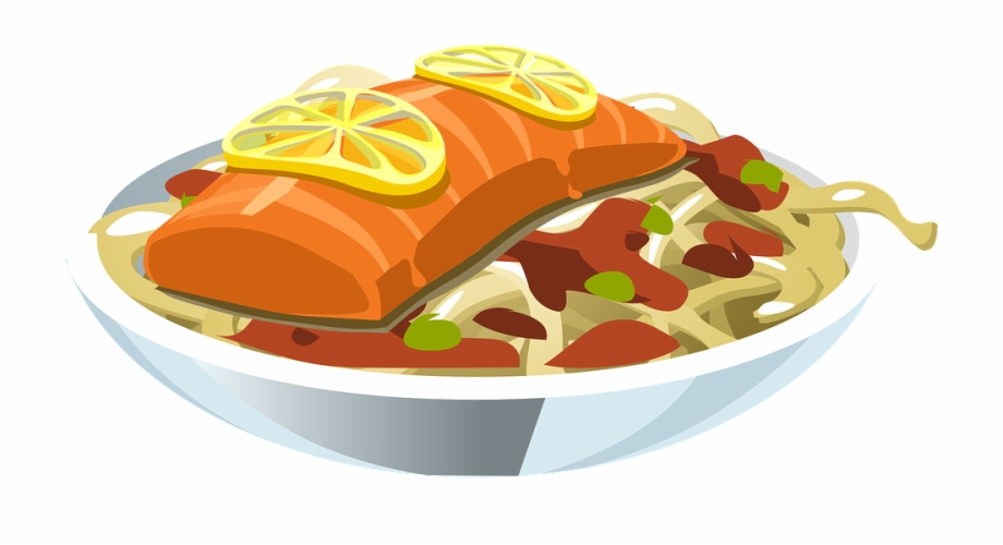 Seafooddinner clipart graphic library stock Food Salmon Lemon Fish Seafood Meal Dinner - Fish Meal ... graphic library stock