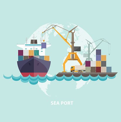 Seaport clipart clip library Cargo Seaport With Ship and premium clipart - ClipartLogo.com clip library