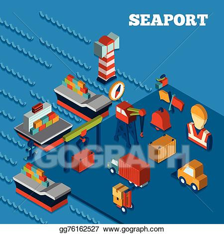 Seaport clipart clipart free download Vector Stock - Seaport isometric set. Clipart Illustration ... clipart free download