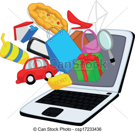 Search clipart online jpg black and white Vectors of Online shopping cartoon - Vector illustration of Online ... jpg black and white
