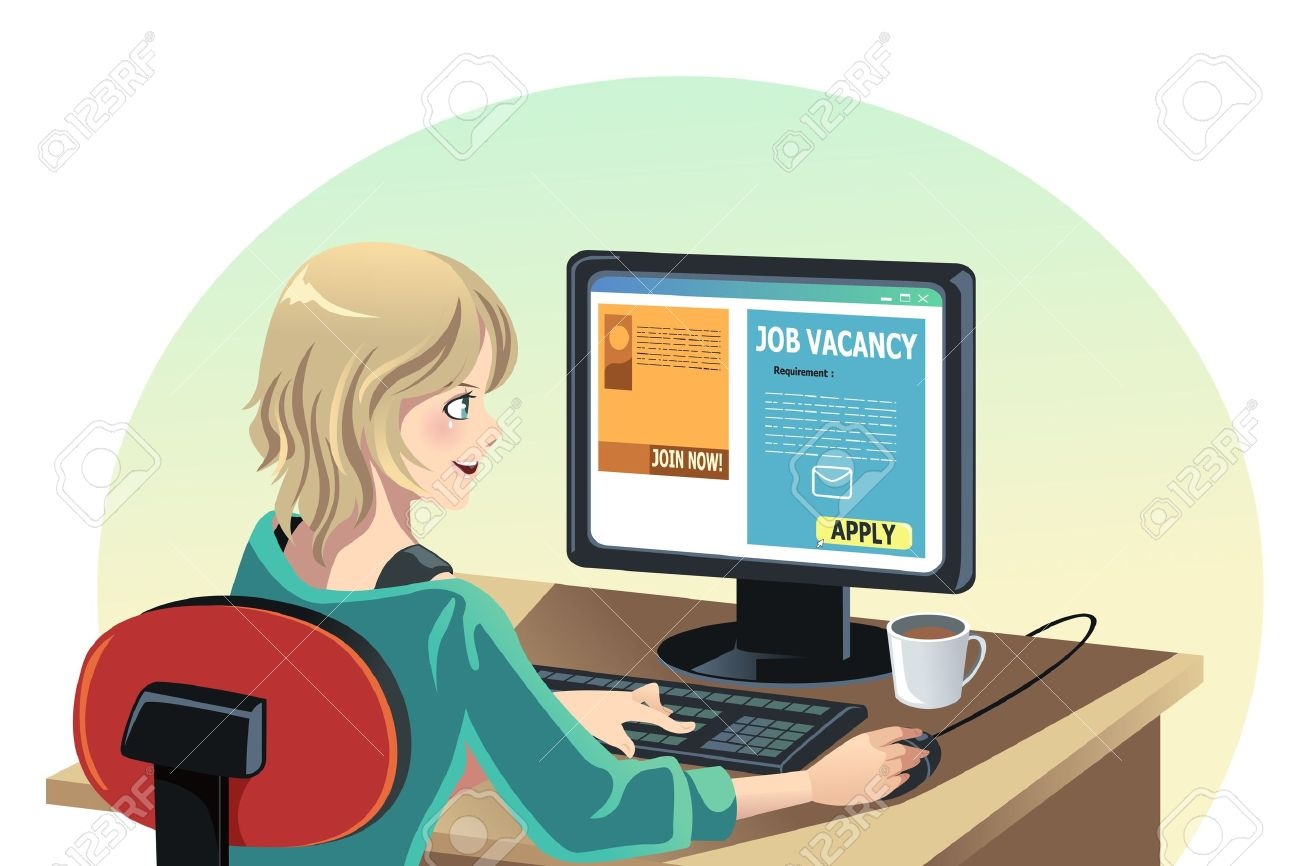 Search clipart online graphic free library A Vector Illustration Of A Woman Searching For A Job Online ... graphic free library