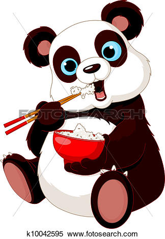 Search clipart panda svg transparent library Clipart of Panda eating rice k10042595 - Search Clip Art ... svg transparent library
