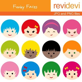 Search for similar clipart image transparent stock Free clip art. Cute kids faces digital clipart freebie. Funky ... image transparent stock