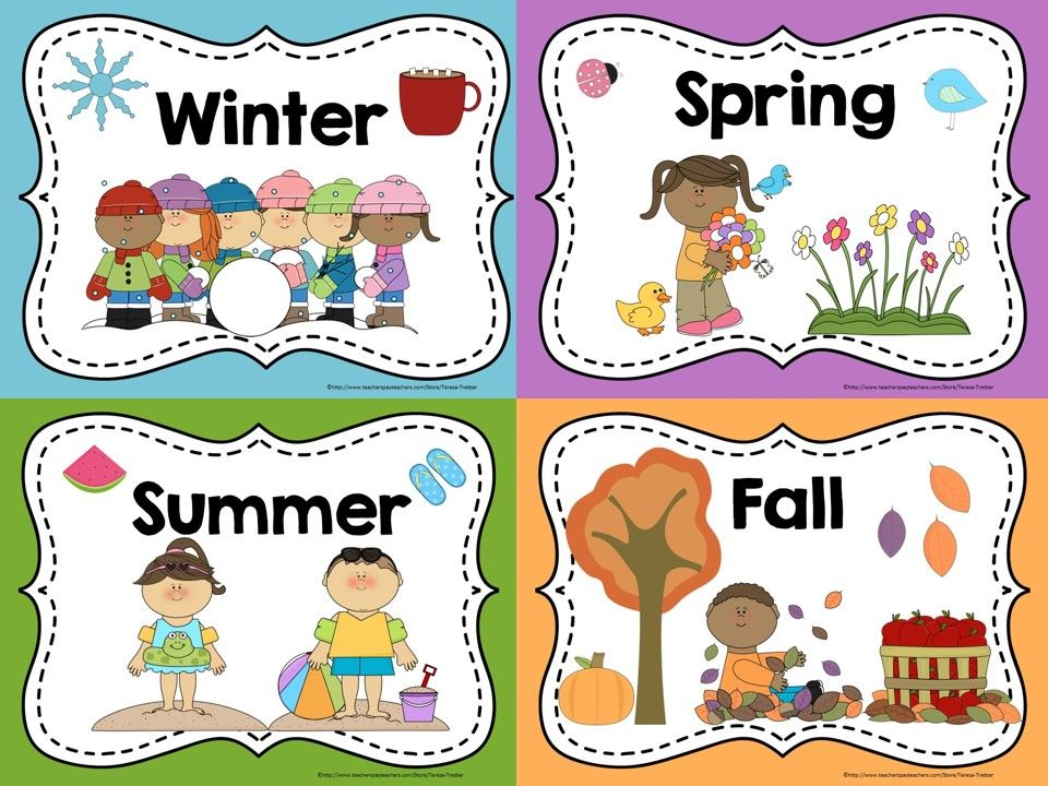 Seasons board game clipart image freeuse library FREE Seasons Posters and Coloring Sheets | TpT FREE LESSONS ... image freeuse library