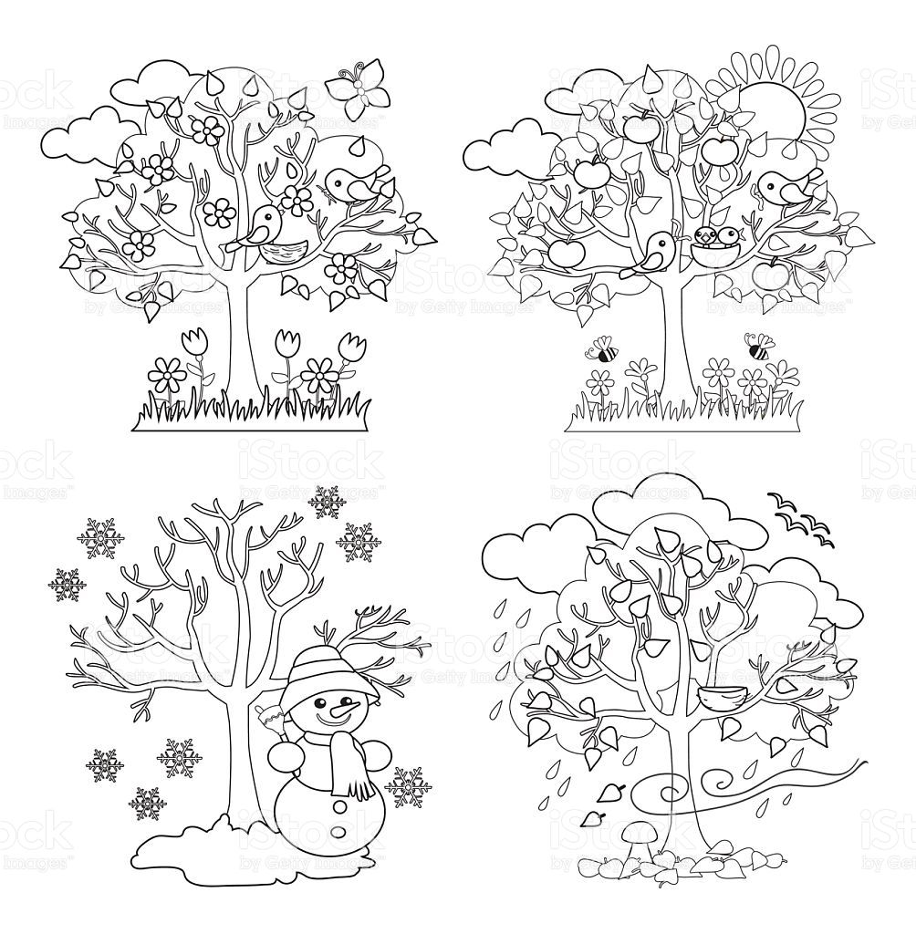 Seasons clipart black and white banner stock Four Seasons Trees Clipart and Vector with Spring, Summer ... banner stock