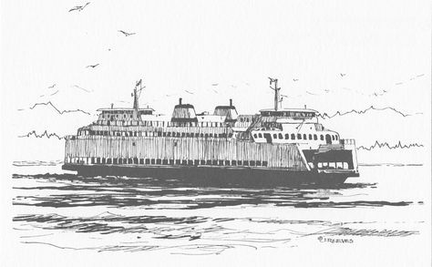 Seattle ferry clipart clip free stock Washington State Ferry by Joan Reeves   c.m.e decor house ... clip free stock