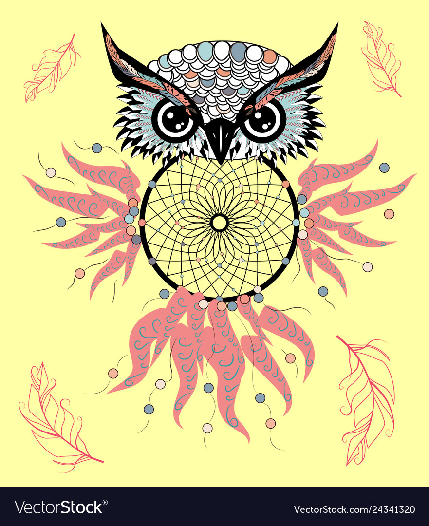 Sece clipart png royalty free library Hand drawn detailed ornate owl with dream catcher vector image png royalty free library