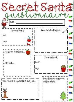 Secret santa word clipart clip freeuse stock Secret Santa Questionnaire Worksheets & Teaching Resources   TpT clip freeuse stock