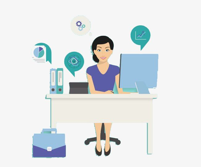 Secretary at desk clipart vector free library The Lady Sitting In Front Of The Computer | Secretary ... vector free library