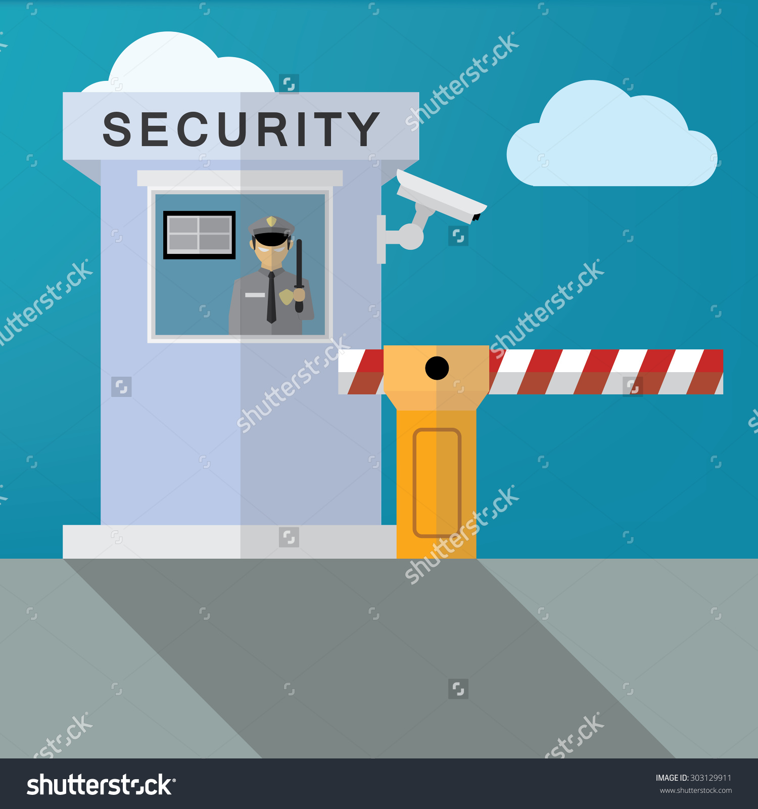 Security gate clipart banner free stock Security Guard Closed Barrier Gate Stock Vector 303129911 ... banner free stock