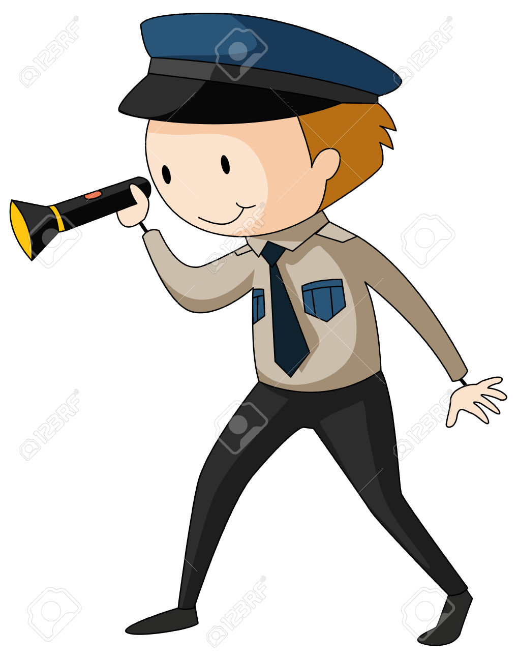 Security guard clipart jpg library stock Security Guard Holding Flashlight Illustration Royalty Free ... jpg library stock