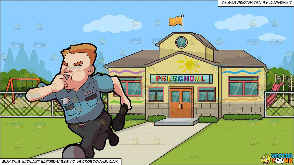 Security guard running clipart vector free library A Security Guard Running After Some Burglar and Outside A Pre School  Background vector free library