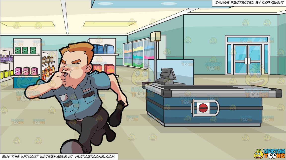 Security guard running clipart jpg freeuse download A Security Guard Running After Some Burglar and Supermarket Aisles And  Checkout Counter Background jpg freeuse download
