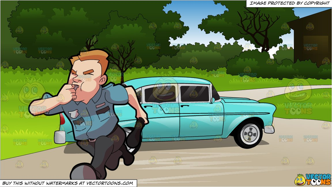 Security guard running clipart png download A Security Guard Running After Some Burglar and Blue 1950s Style Car  Background png download