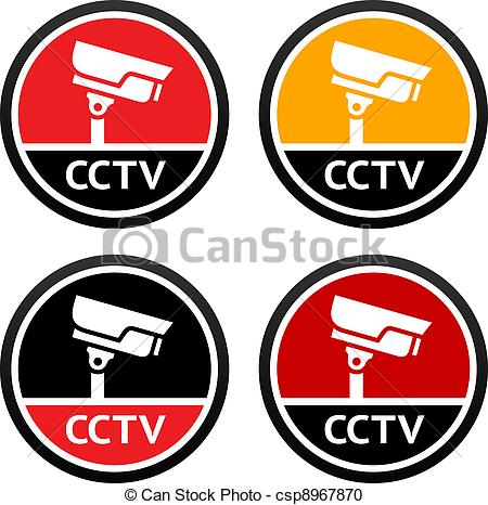Security logo clipart sign banner freeuse library Vector Clipart of CCTV pictogram, set sign security camera ... banner freeuse library