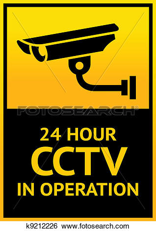 Security logo clipart sign image black and white stock Clip Art of Sign security camera k9212226 - Search Clipart ... image black and white stock